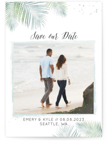This is a portrait botanical, green Save the Dates by My Splendid Summer called Sunny Wedding with Standard printing on Smooth Signature in Petite Flat Card format. This whimsical photo christmas card features watercolor palm tree leaves.