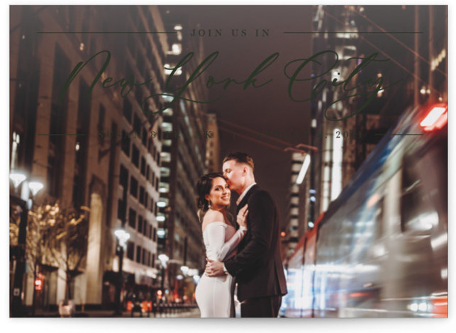 This is a classic and formal, green Save the Dates by Pixel and Hank called Best of My Love with Standard printing on Signature in Petite fold over (blank inside) format. This save the date full bleed photo card is ...