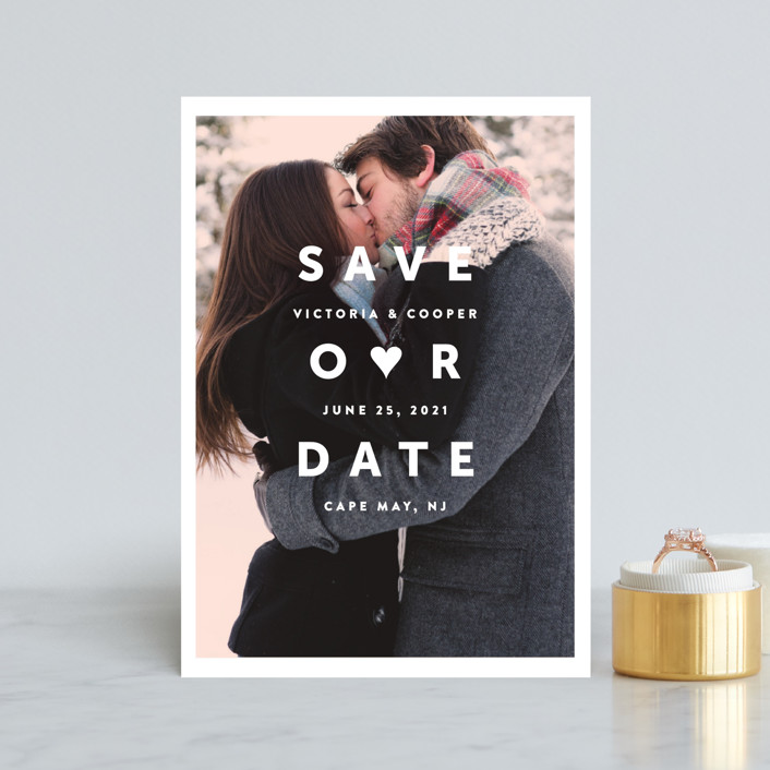 """""""Cool and All"""" - Modern Save The Date Petite Cards in Blush by Up Up Creative."""