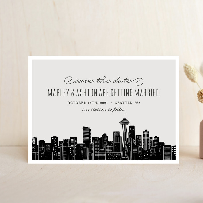 """""""Big City - Seattle"""" - Save The Date Petite Cards in Light Taupe by Hooray Creative."""