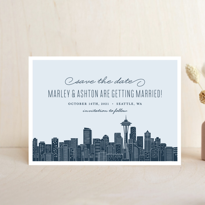 """""""Big City - Seattle"""" - Save The Date Petite Cards in Pale Blue by Hooray Creative."""