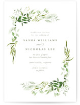 This is a green petite save the date by Leah Bisch called Verdure with standard printing on doublethick in petite.