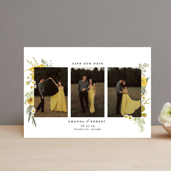 """""""Organic Florals"""" - Save The Date Petite Cards in Honey by Susan Moyal."""