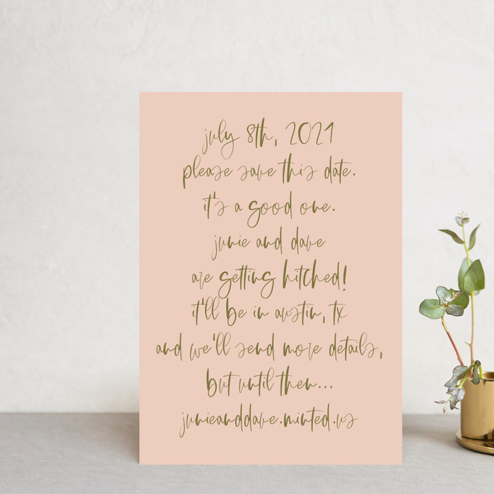 """It's a Good One"" - Save The Date Petite Cards in Blush by Annie Montgomery."