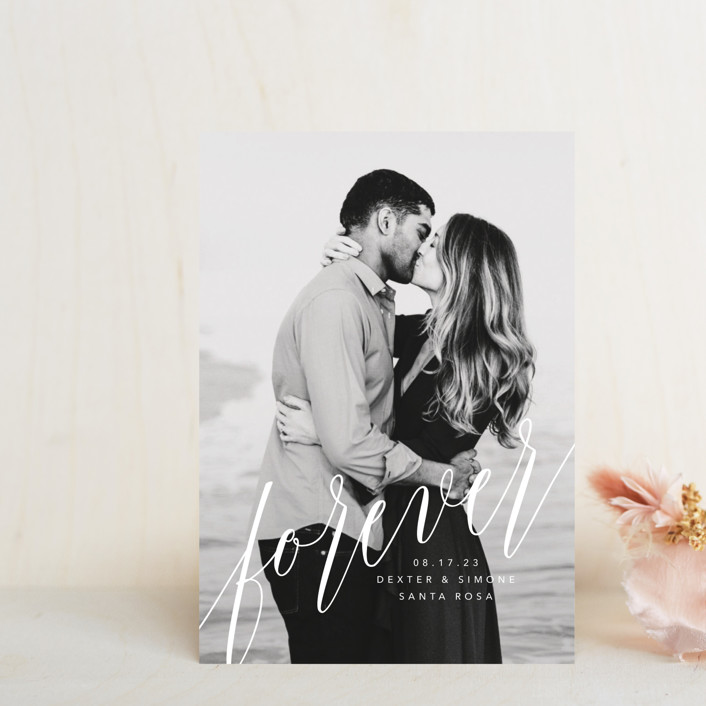 """forever with you"" - Save The Date Petite Cards in Linen by Guess What Design Studio."
