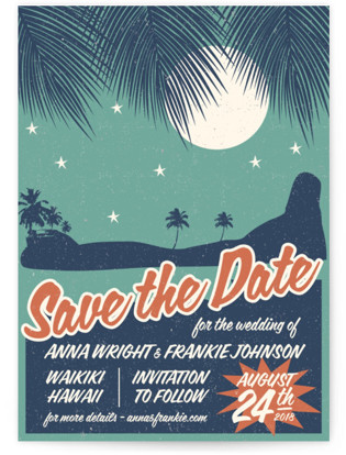Retro Hawaii Save the Date Petite Cards