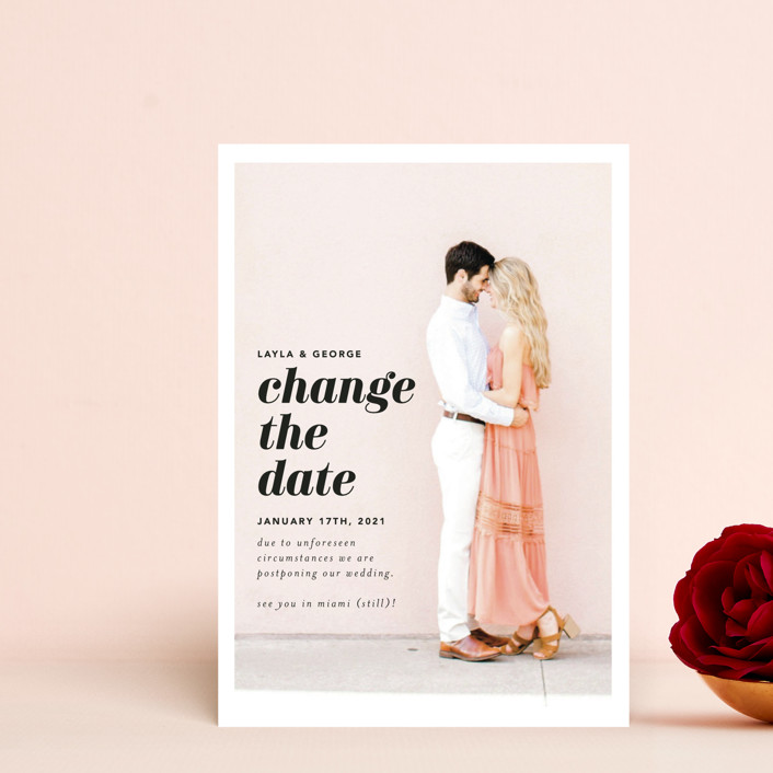 """""""Meet Us In Miami"""" - Save The Date Petite Cards in Blush by Laura Hamm."""