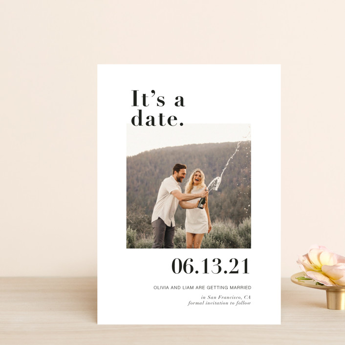 """""""It's a Date!"""" - Funny Save The Date Petite Cards in Onyx by Joyce Pinheiro."""
