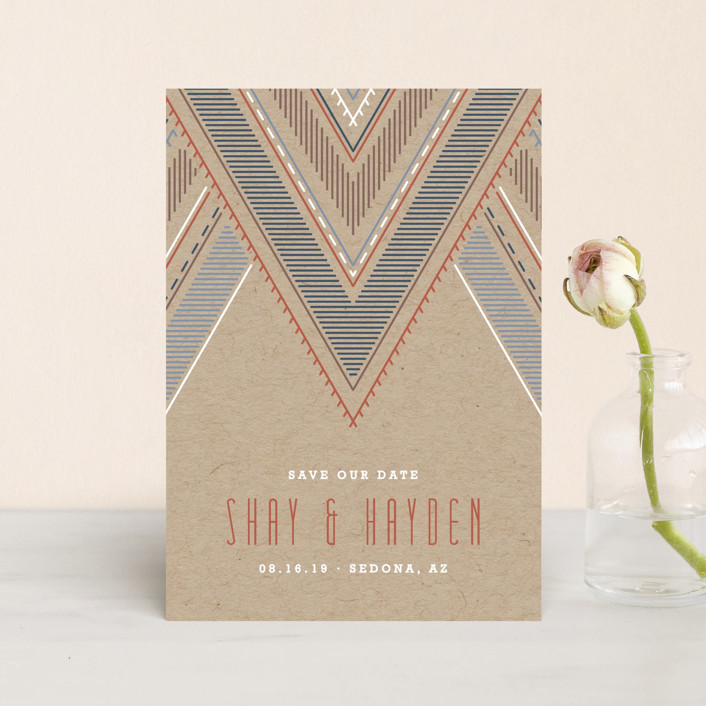 """""""Sedona"""" - Bohemian Save The Date Petite Cards in Terracotta by Amber Barkley."""