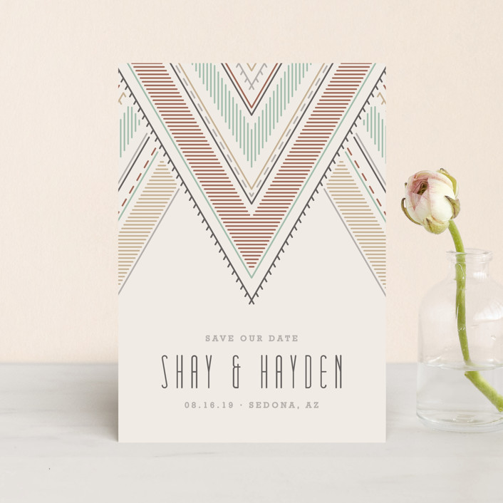 """""""Sedona"""" - Bohemian Save The Date Petite Cards in Charcoal by Amber Barkley."""
