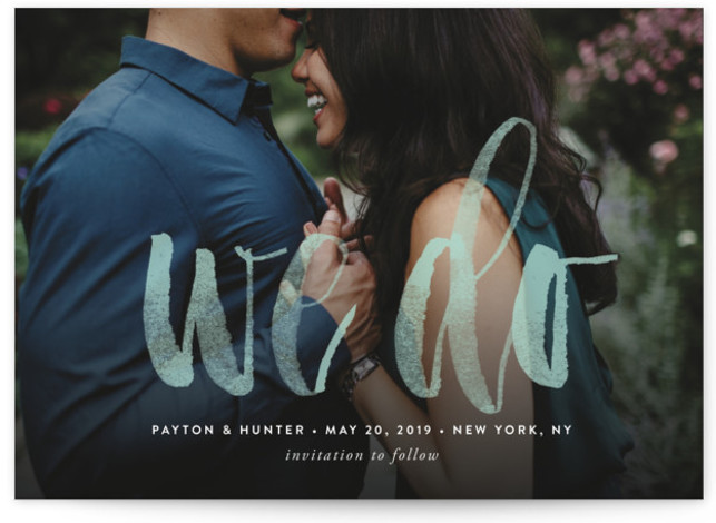 This is a landscape bold and typographic, green Save the Dates by Ana Sharpe called Forever We Do with Standard printing on Signature in Petite Flat Card format. This modern one photo Save the Date card features beautiful watercolor script ...