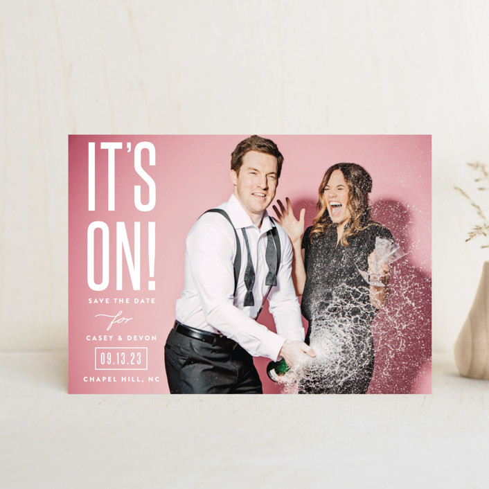 """it's on!"" - Save The Date Petite Cards in Frosting by Sara Hicks Malone."