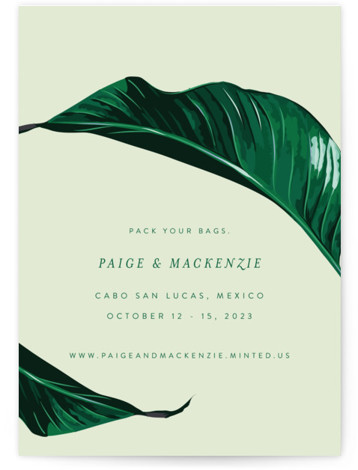 This is a portrait botanical, green Save the Dates by Fig and Cotton called Mod Palm with Standard printing on Signature in Petite Flat Card format. This fun take on a tropical save the date is the perfect way to ...