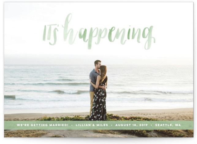 This is a landscape bohemian, green Save the Dates by Anchored Paper Co. called It's Happening with Standard printing on Smooth Signature in Petite Flat Card format. It's happening! Celebrate your upcoming nuptials and inform your guests about the upcoming ...