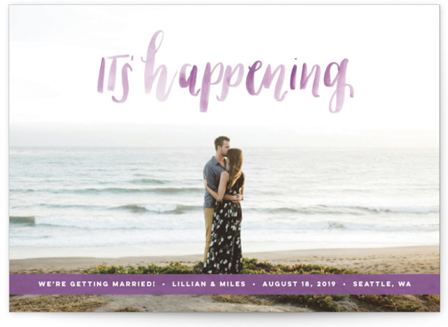 This is a landscape bohemian, purple Save the Dates by Anchored Paper Co. called It's Happening with Standard printing on Smooth Signature in Petite Flat Card format. It's happening! Celebrate your upcoming nuptials and inform your guests about the upcoming ...