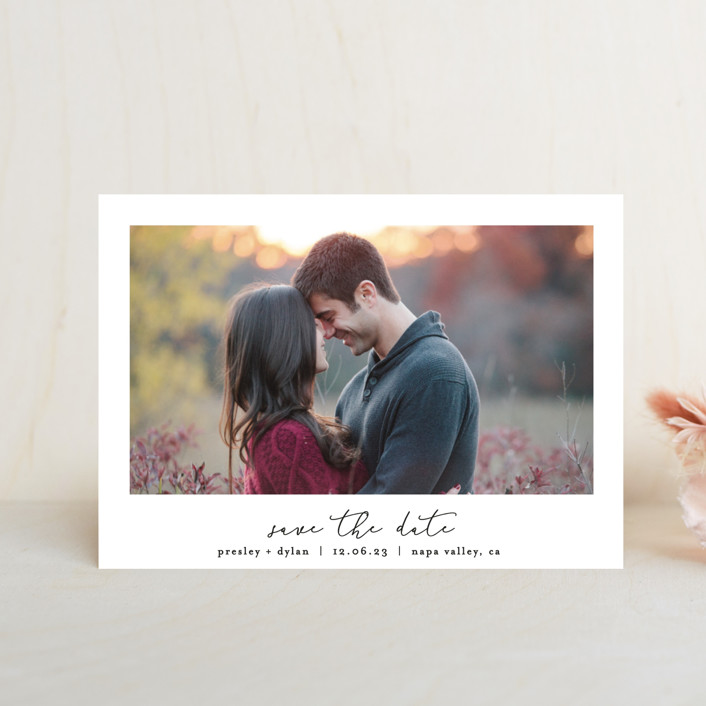 """""""Pure"""" - Save The Date Petite Cards in Noir by Bethan."""