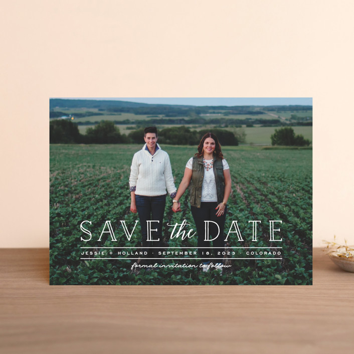 """""""Casual Type"""" - Modern Save The Date Petite Cards in Cloud by Ashley Rosenbaum."""