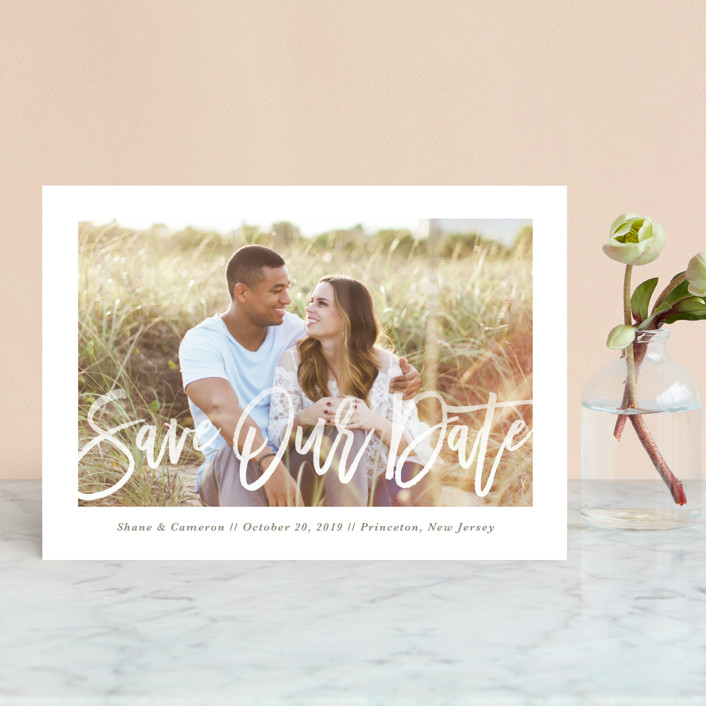 """Soft Script"" - Modern Save The Date Petite Cards in Meadow by Lorent and Leif."