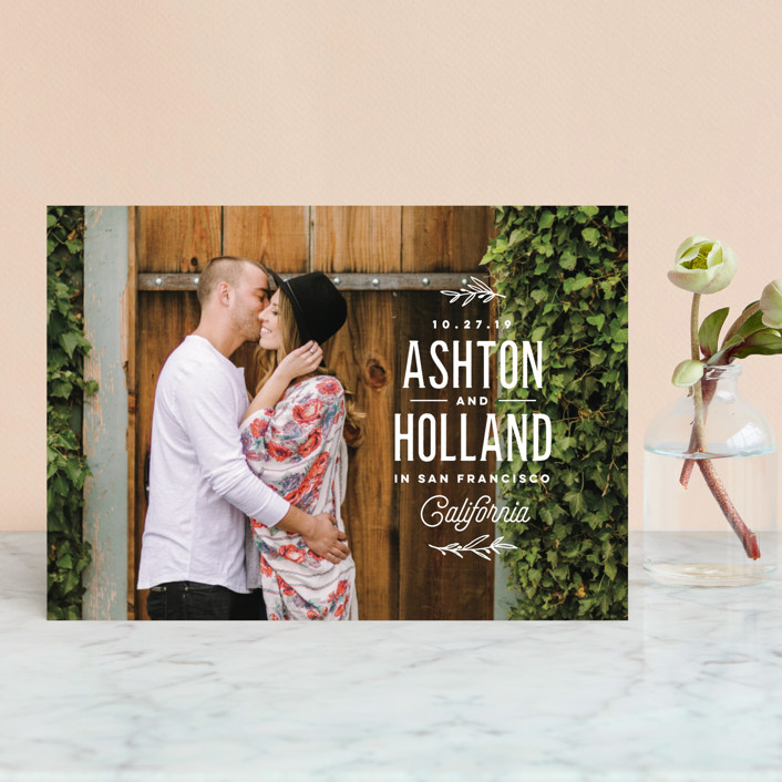 """""""Vintage Love"""" - Modern Save The Date Petite Cards in Cotton by Oscar & Emma."""