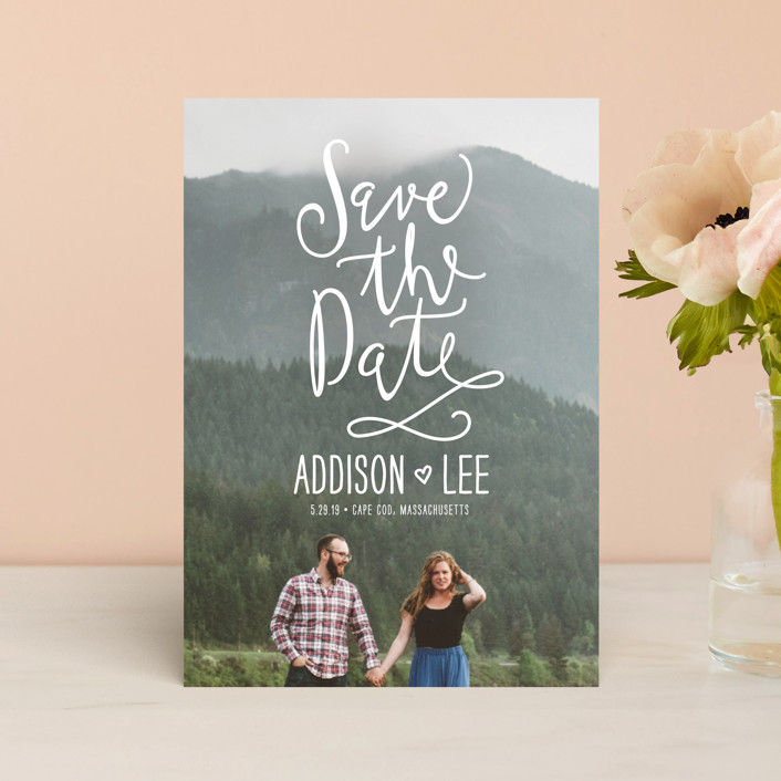 """Skywriting Love"" - Bohemian Save The Date Petite Cards in Natural by Ariel Rutland."