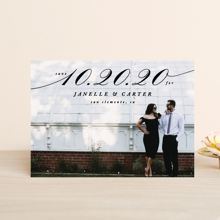 """""""Sway"""" - Bold typographic, Full-Bleed Photo Save The Date Petite Cards in Noir by Owl and Toad."""