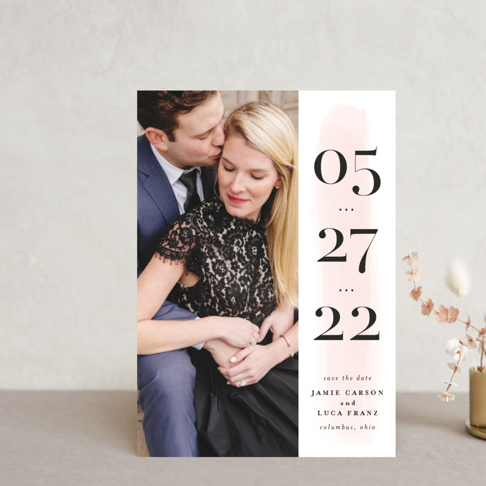 """Tall"" - Bold typographic Save The Date Petite Cards in Blush by Lea Delaveris."
