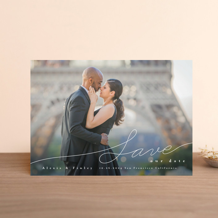"""Contemporary Script"" - Classical, Full-Bleed Photo Save The Date Petite Cards in Silk by Four Wet Feet Studio."