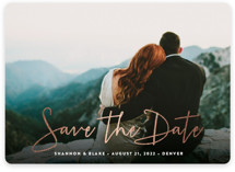 This is a white save the date magnet by Hooray Creative called Stylish Script with foil-pressed printing on magnet paper in magnet.