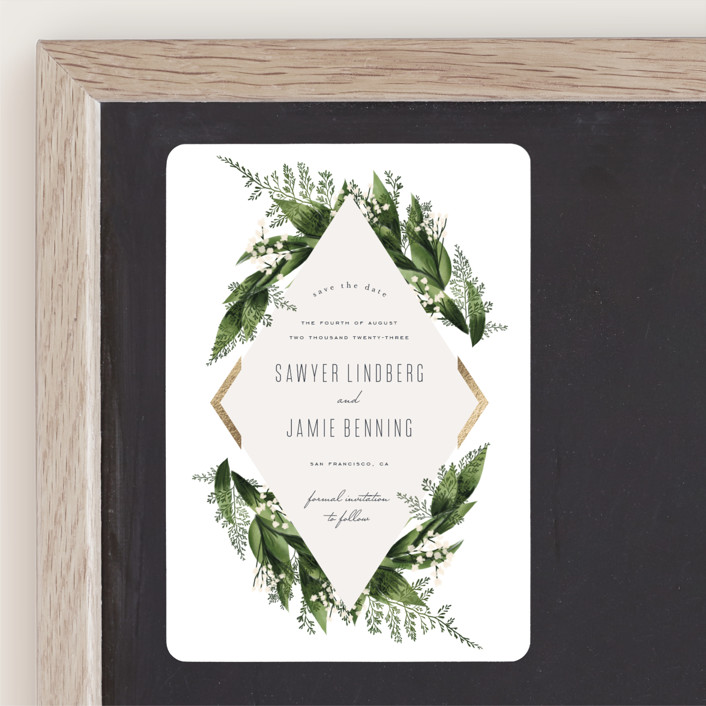 """""""Diamante"""" - Foil-pressed Save The Date Magnets in Forest by Leah Bisch."""