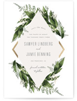 This is a green save the date magnet by Leah Bisch called Diamante with foil-pressed printing on magnet paper in magnet.