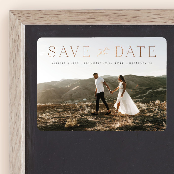 Classic Lettering - Foil-pressed Save The Date Magnets in Charcoal by Morgan Kendall for Minted