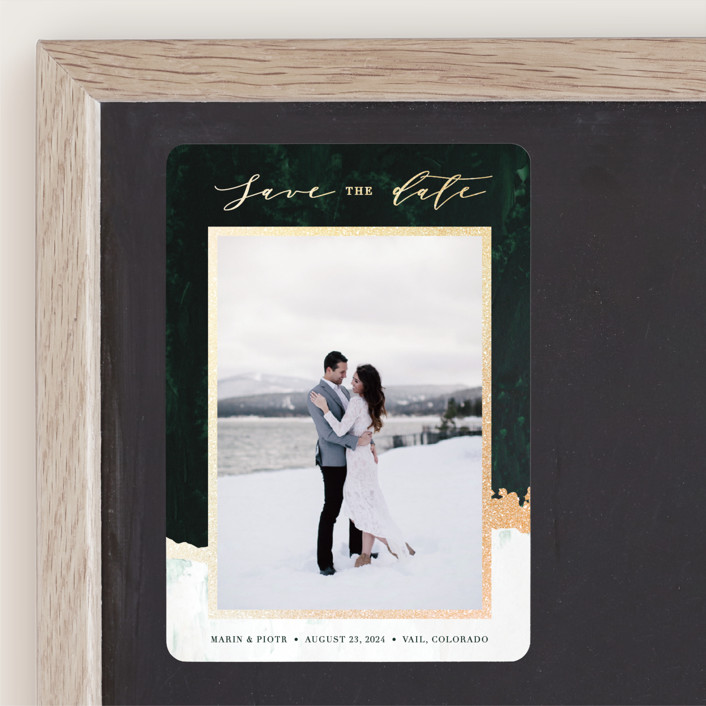 """""""Glacier"""" - Modern Foil-pressed Save The Date Magnets in Forest by Holly Whitcomb."""