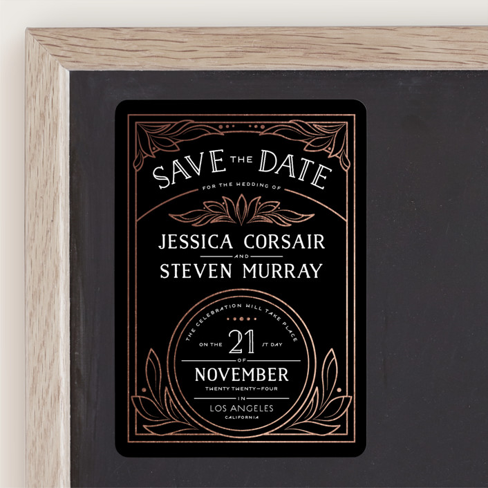 """""""Halcyon"""" - Vintage Foil-pressed Save The Date Magnets in Ebony by GeekInk Design."""