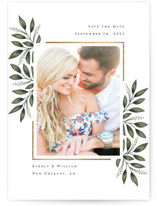 This is a green save the date magnet by Chasity Smith called Framed Botanicals with foil-pressed printing on magnet paper in magnet.