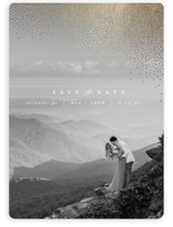 This is a white save the date magnet by Lori Wemple called Mist with foil-pressed printing on magnet paper in magnet.