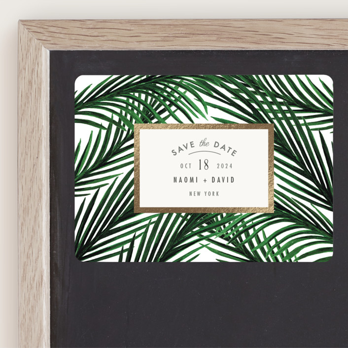 """""""Tropical Love"""" - Foil-pressed Save The Date Magnets in Ivory by Elly."""