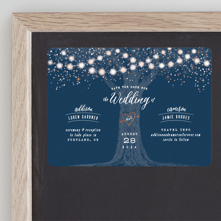 """Garden Lights"" - Rustic Foil-pressed Save The Date Magnets in Navy by Hooray Creative."