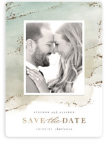 This is a green save the date magnet by Hooray Creative called Seaside Watercolor with foil-pressed printing on magnet paper in magnet.