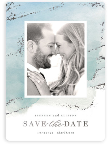 This is a blue Save the Dates by Hooray Creative called Seaside Watercolor with Foil Pressed printing on Magnet Paper in Magnet Flat Card format. Original watercolor background with gold foil accents and elegant typography.