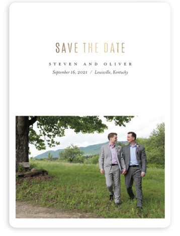 This is a white Save the Dates by Eric Clegg called Modern Minimalism with Foil Pressed printing on Magnet Paper in Magnet Flat Card format. This one photo Save the Date card features a minimalist design with foil stamping.