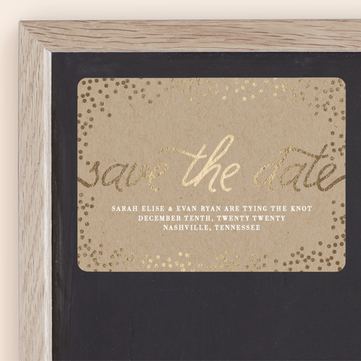 """""""Starlight"""" - Bohemian Foil-pressed Save The Date Magnets in Kraft by Saltwater Designs."""