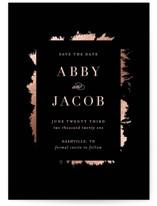 This is a black save the date magnet by Carrie ONeal called Cape with foil-pressed printing on magnet paper in magnet.