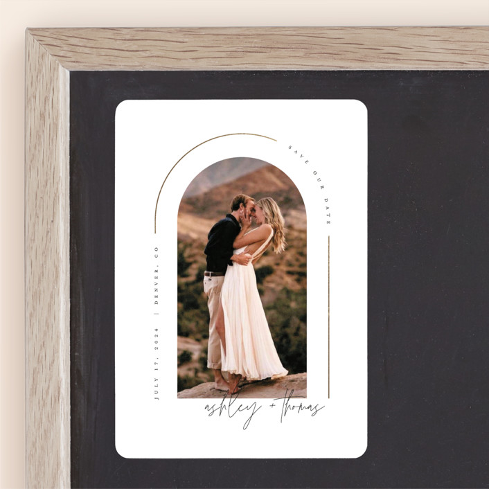 """""""Arch"""" - Modern Foil-pressed Save The Date Magnets in Silk by Kelly Schmidt."""