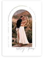 This is a white save the date magnet by Kelly Schmidt called Arch with foil-pressed printing on magnet paper in magnet.