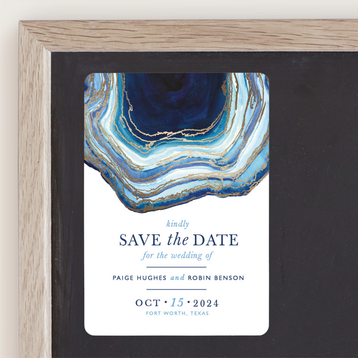 """""""Gilt Agate"""" - Rustic Foil-pressed Save The Date Magnets in Navy by Kaydi Bishop."""