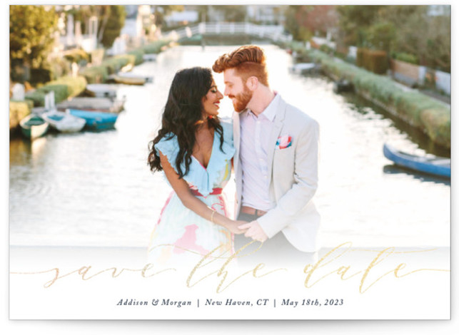 This is a landscape classic and formal, blue Save the Dates by GeekInk Design called Simply Scripted with Foil Pressed printing on Magnet Paper in Magnet Flat Card format. An elegant script and a simple modern layout give this Save ...