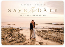 This is a black save the date magnet by Kate Ahn called Simple Beauty with foil-pressed printing on magnet paper in magnet.