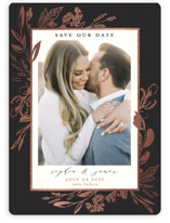 This is a black save the date magnet by Susan Moyal called Our Day with foil-pressed printing on magnet paper in magnet.