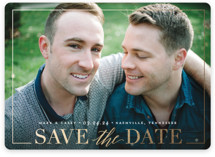 This is a white save the date magnet by Jessica Williams called Swell with foil-pressed printing on magnet paper in magnet.