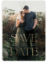 This is a white save the date magnet by Susan Asbill called Gilded greeting with foil-pressed printing on magnet paper in magnet.